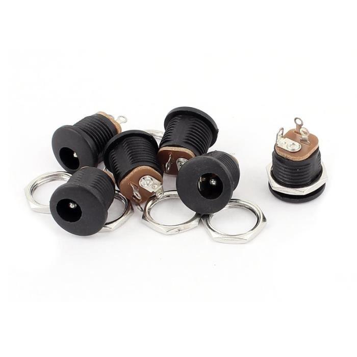 Prise 1mm Panneau De 5mmx2 Courant Dc Puissance 5 005 Montage 6pcs Sur Femelle Connecteur Dc cPTyIF6