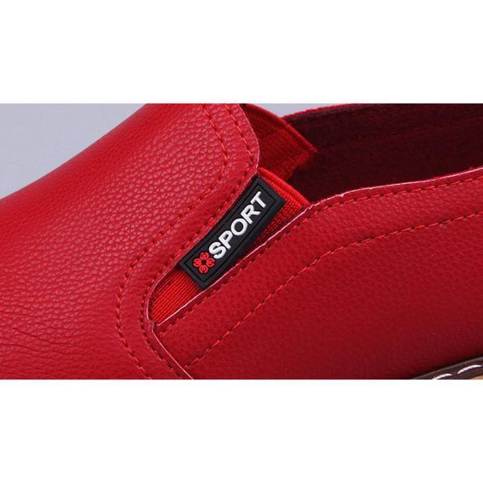 Court Casual Cheville Seasondu Femme rouge Cuir En Dames Plat Chaussures Mode Bottes Pour qTARg