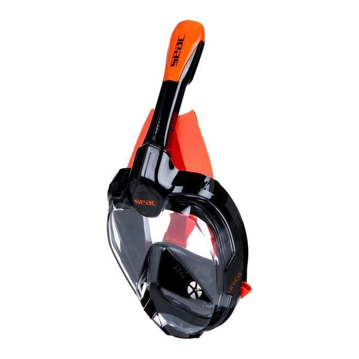 SEAC Masque de plongée intégral Unica - Taille S/M - Noir et orange