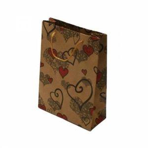 POCHETTE CADEAU 12 sacs cabas en papier kraft brun motifs coeurs 2