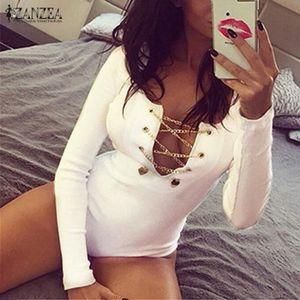 BODY ZANZEA Body Sexy Femme Manche Longue Bandage Moula