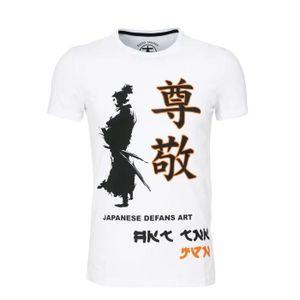 T-SHIRT T shirt défense Samouraï Blanc