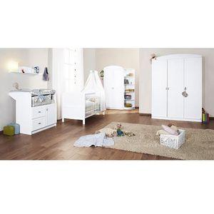 Chambre bébé blanche Laura avec grande armoire - Achat / Vente ...