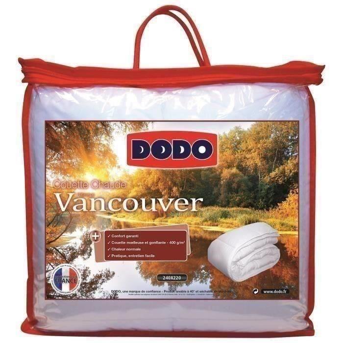 DODO Pack VANCOUVER 240x260cm - 1 couette chaude 240x260cm et 2 oreillers - Blanc