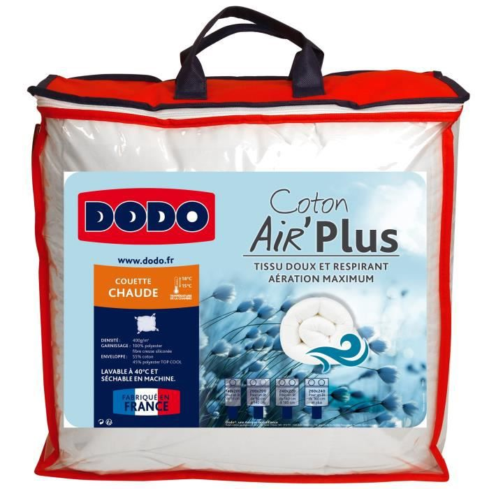 DODO Couette chaude 400g/m² AIR'PLUS 240x260 cm blanc