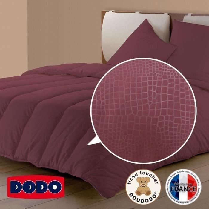 DODO Couette tempérée Tendance Croco - 240x260 cm - Prune