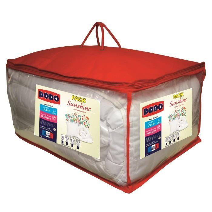 DODO Pack SUNSHINE - 1 couette 240x260 cm + 2 Oreillers 60x60 cm blanc