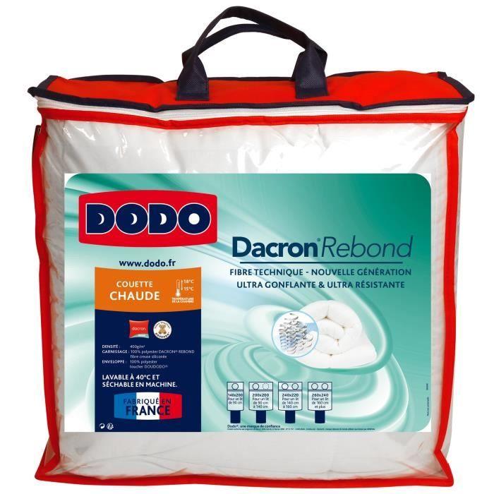 DODO Couette chaude 400gr/m² DACRON REBOND 240x260 cm blanc