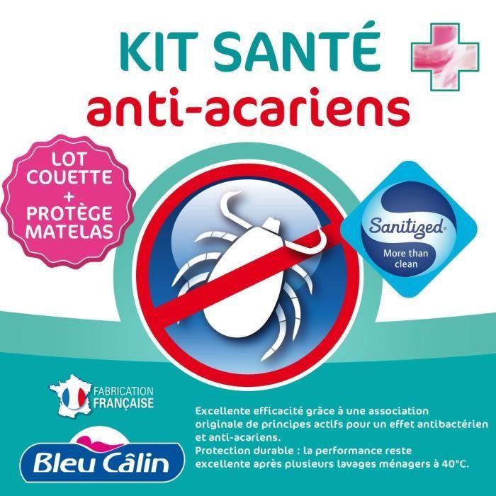 BLEU CALIN Lot de 1 couette chaude Anti-Acariens 240x260cm + 1 protège-matelas Anti-Acariens 160x200cm