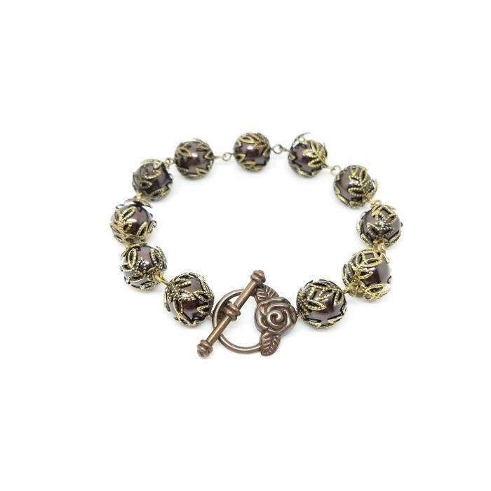Brass Violet Bracelet Pearl Femmes, Bracelet Violet Perle C7MDE