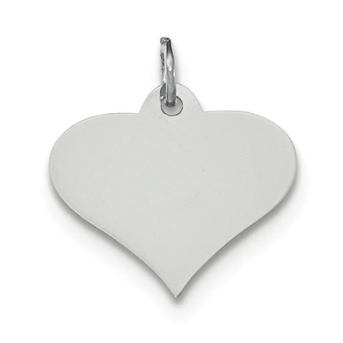 En or blanc 14 carats .018 jauge Engravable coeur charme-disque