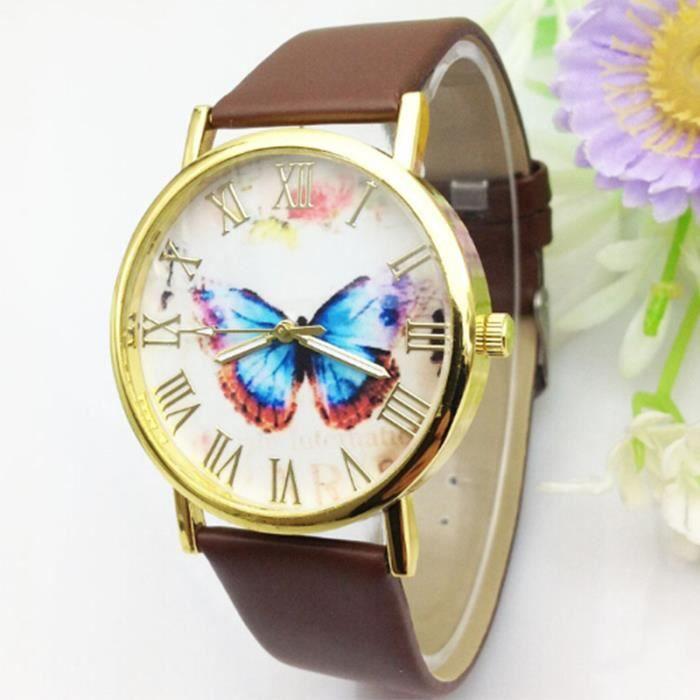 Femme fille chic papillon poignet montre cuir bracelet d coration de mode achat vente montre for Montre decoration