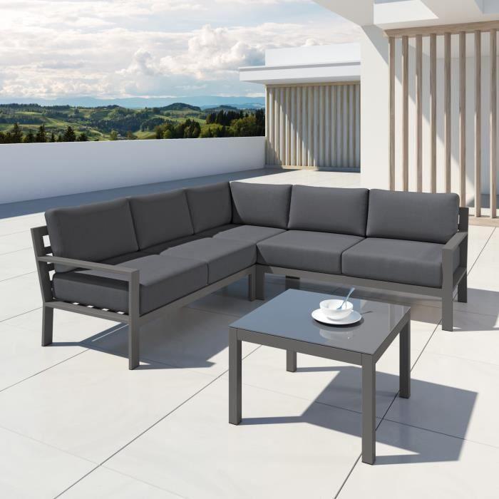 MIO - Ensemble salon de jardin design aluminium - Gris - intérieur ...