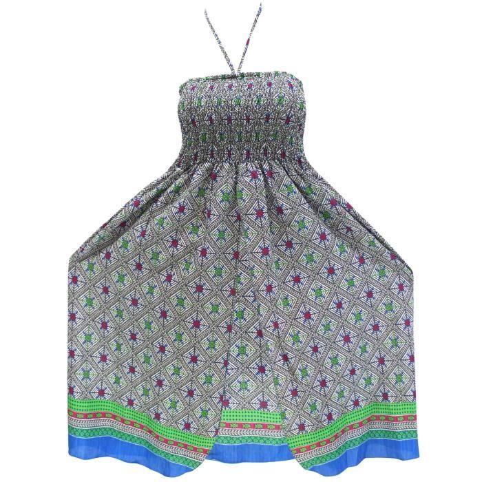 6adeeb13a3 maxi col maillot couvrir dos nu maillot de bain de vêtements de plage au- dessus robe courte de tube du genou bleu