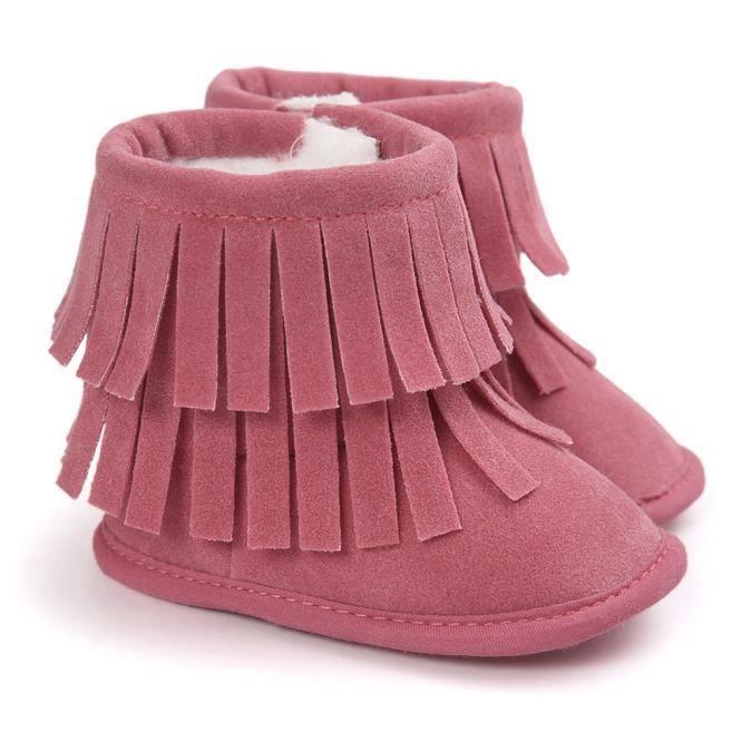 Garde-boue à double pont Garder chaud soft neige bottes Soft berceau chaussures tout-petits Botts rose QTVCM