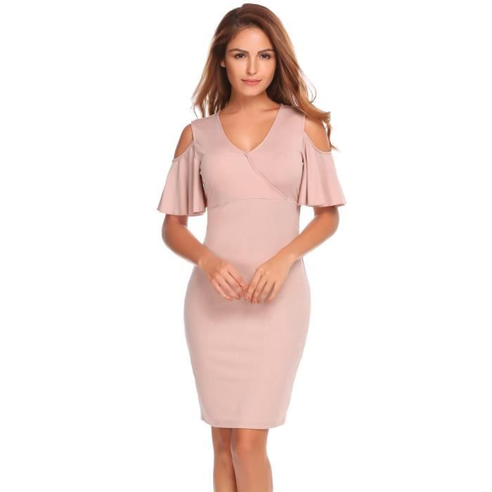Femmes Bodycon Robe V Cou Froid épaules Short Flare Manches Solid Slim