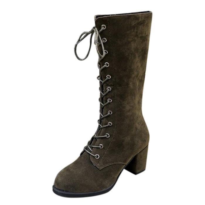 hauts à talons AGArmée talons Bottes Bottes d'hiver de verte Femmes Sidneyki®Bottes hauts à Chaussures WE293 chevaliers TavxtOwznn