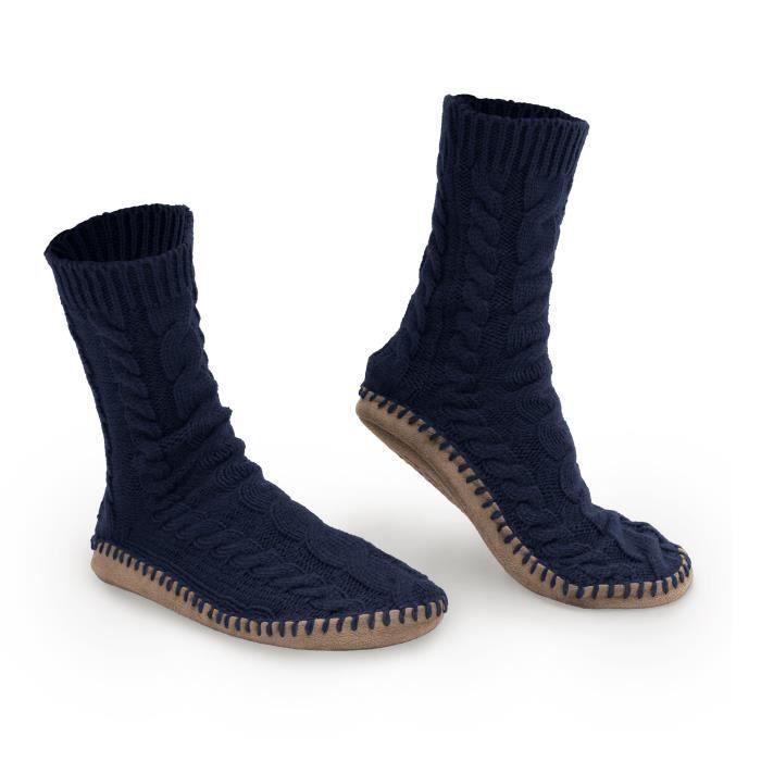 chaussettes hautes en maille torsadée - mousse mémoire + semelle anti-dérapante - tailles s, m, l - semelle en faux daim WFCKE Taill