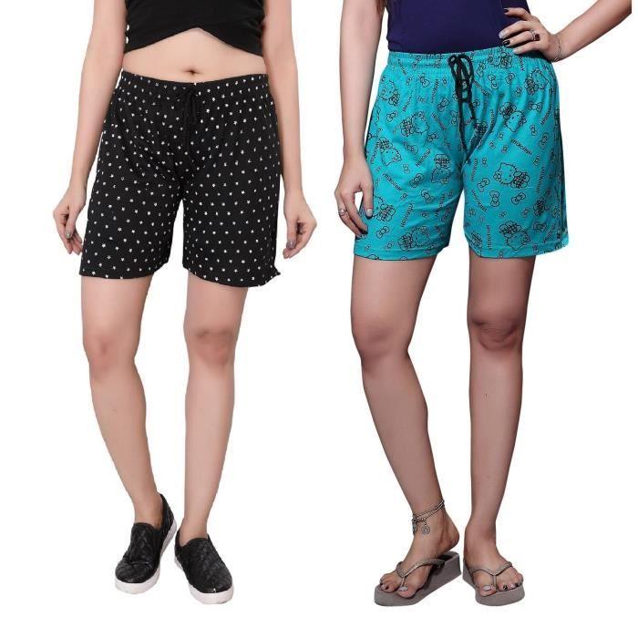 Femmes de pack SHORT Shorts imprimé Bonneterie coton 1qxxnvHwT