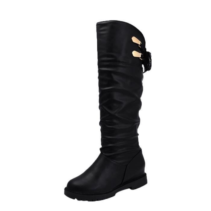 Cuissardes Noir Confortable Cuir Bottes En Chaussures Longues Femme Souple 867nRx8H