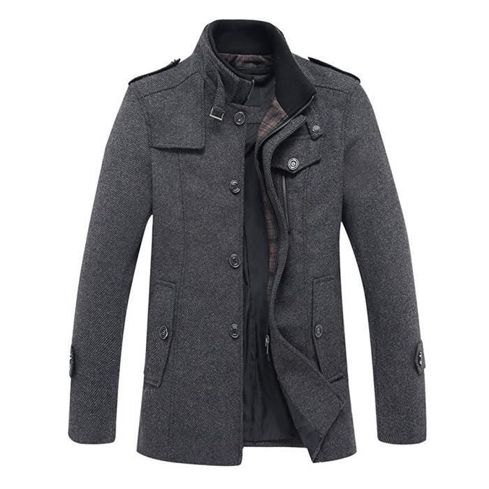Longue Outwear Parka Fit Trench Simple Hiver Casual Coat Chaud Minetom Veste Manteau Slim Mélange Caban Homme Manche Laine Blazer nUR0R786