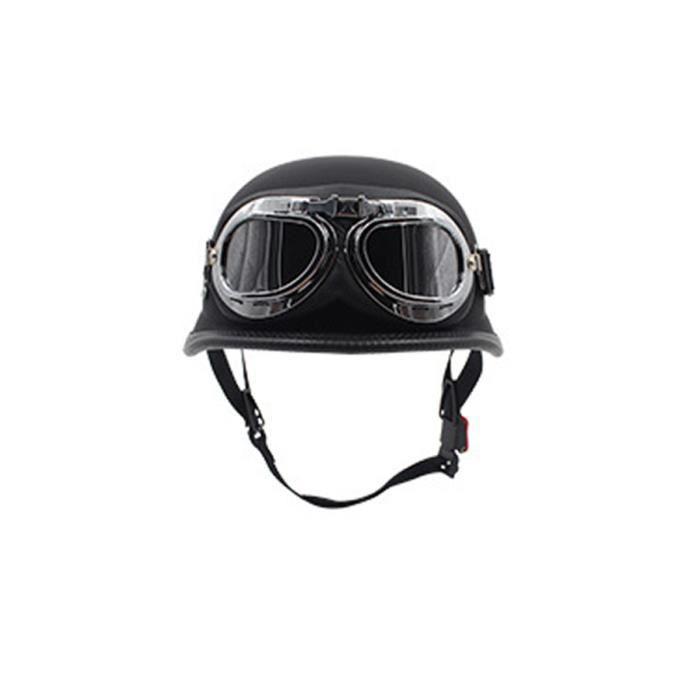 NEUFU Casque de Moto Avec Lunettes Brun