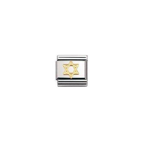 Nomination 030105 - Maillon Pour Bracelet Composable Mixte - Etoile De David - Acier Inoxydable Et Or Jaune 18 Cts KDX1L