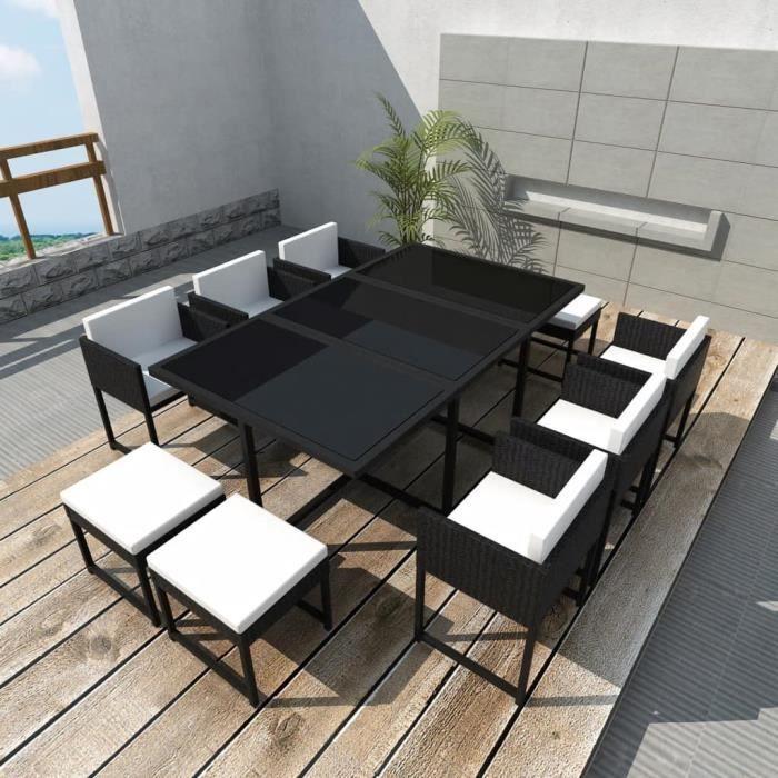 Jeu de mobilier de jardin salon de jardin haut qualité 27 pcs Noir ...