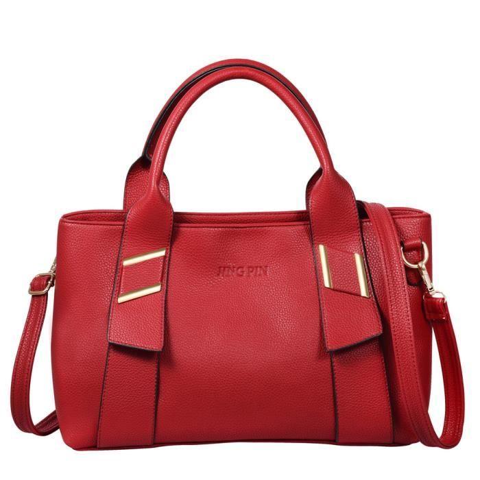 vbiger sac main en cuir souple rouge femme achat vente vbiger sac main en cuir s. Black Bedroom Furniture Sets. Home Design Ideas