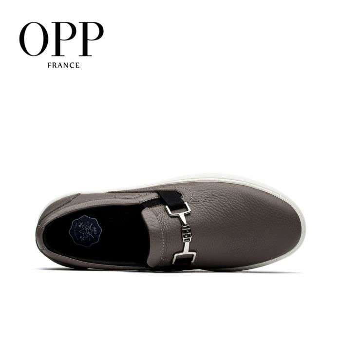OPP Homme Comfortable véritable cuir Loafers Moccasin Falt de chaussures OD17128-8gris43 iSowY
