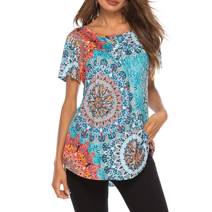 Courtes Boutons shirts Imprimés Clair Manches T Tops D'été Avec Mode Bleu Femmes MVqzUpS