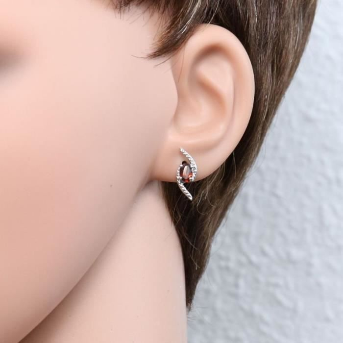 Boucles d oreilles Argent 925 Grenat ref 45203 Rouge