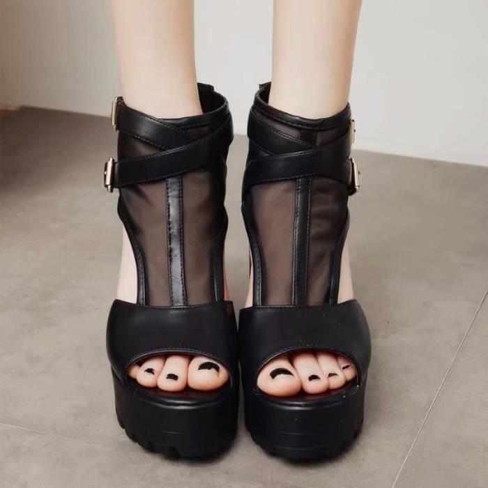 Fish Boucle Bottillons Plate Strap Mouth forme Heels Femmes Chaussures Noir High Compensées Sandales fgdq8fw