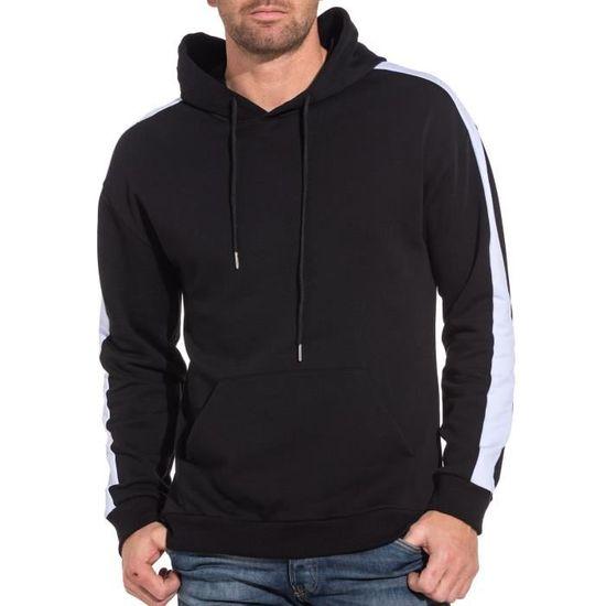 3a845c3d78c8 Sweat capuche homme noir bandes latérales blanche Noir Noir - Achat   Vente  sweatshirt - Cdiscount