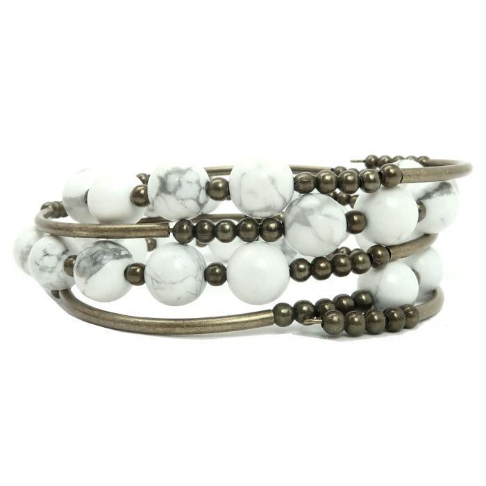 Howlite Bracelet femme 06 - Laiton Antiqued Wrap White Stone GQ1RG