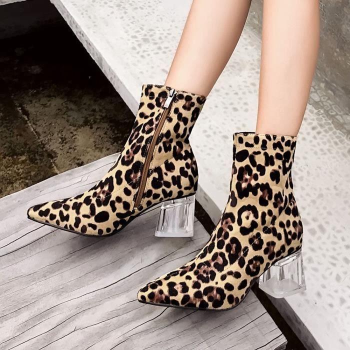 Talons Chaussures Pointu Hauts Femmes Épais Leopard Cristal Zip Bottesll10893 Bottes Boot Talon ZgZwI0v