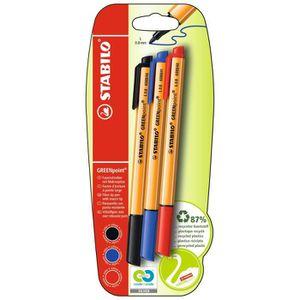 STABILO GREENpoint - lot de 3 stylos-feutres - noir + bleu + rouge