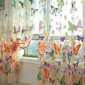 VOILAGE Rideaux Voilage Papillon Fleurs Cantonnière Fenêtr