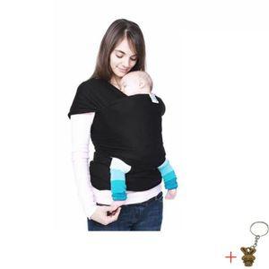 ÉCHARPE DE PORTAGE Echarpe porte-bébé avec élastique Echarpe Noir+Cad