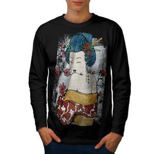 f80741609a7a9 Japon Femme Beauté Geisha la grâce Men S-2XL T-shirt à manches longues