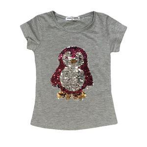 7213788cad2be T-SHIRT T-shirt pingouin gris sequin réversible fille