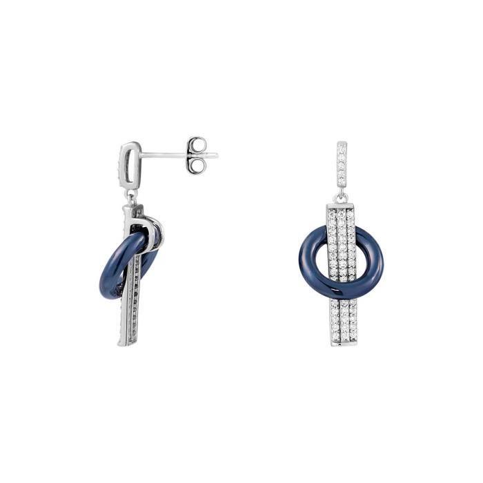 Boucles oreilles BLEUE JOAILLERIE Argent 925-1000 Céramique