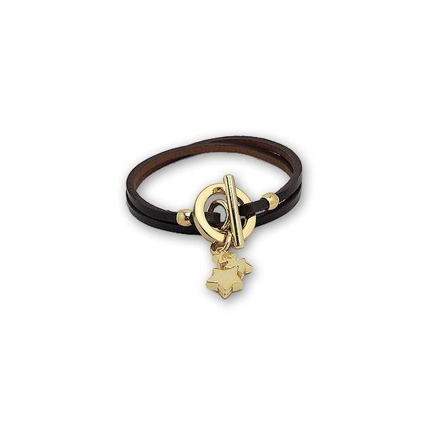 Bracelet Etoiles en Cuir Noir et Acier Or