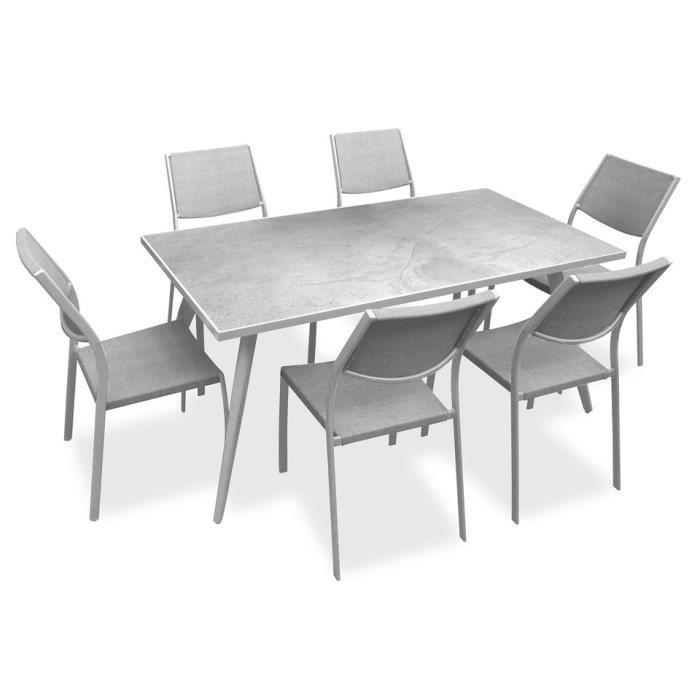 Ensemble 1 table rectangulaire avec 6 chaises en métal et plateau en grès -  162x82x74cm - Blanc