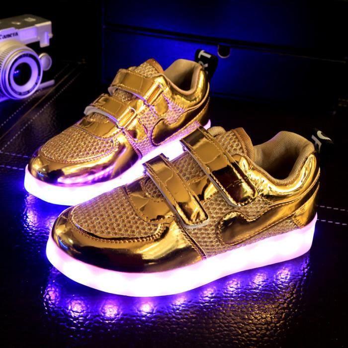 Mode enfants 7 Couleu Chaussures LED Lumineux Chaussures de Sports Baskets Garcon Fille Chaussures Sports Baskets