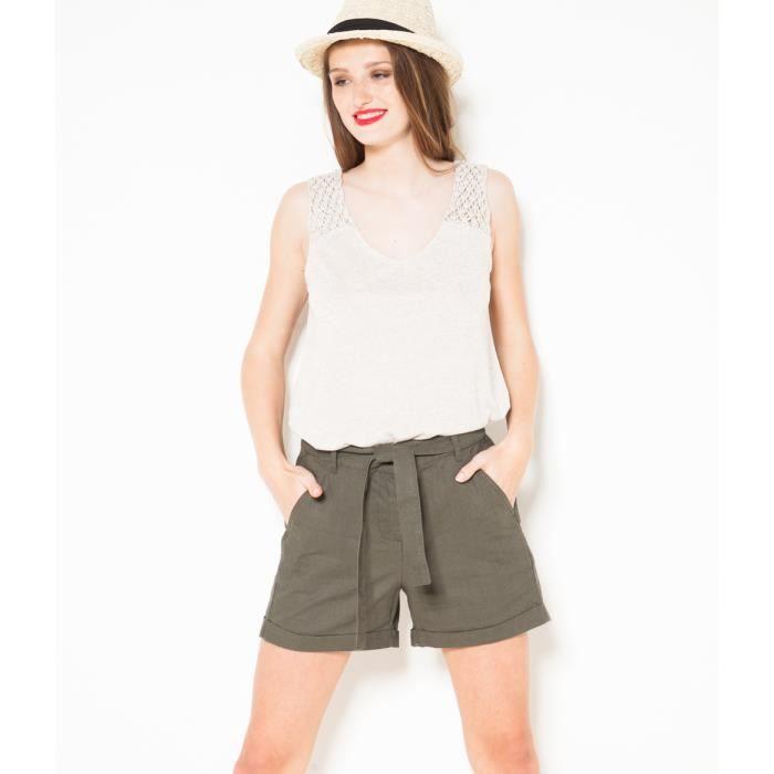 Camaïeu - Short femme coton et lin - SOUPLE 0f98f8db9d7