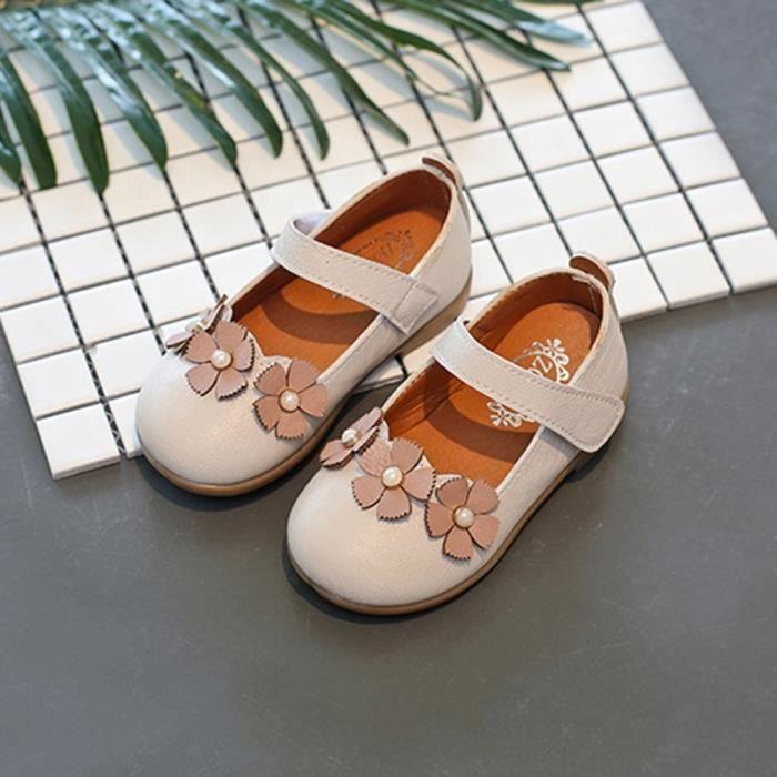 fea84dd03a42d exquisgift®Mode Fleur Sandales en cuir Princesse Chaussures Danse Loisirs  pour Enfant Filles Blanc SCH80306832WH