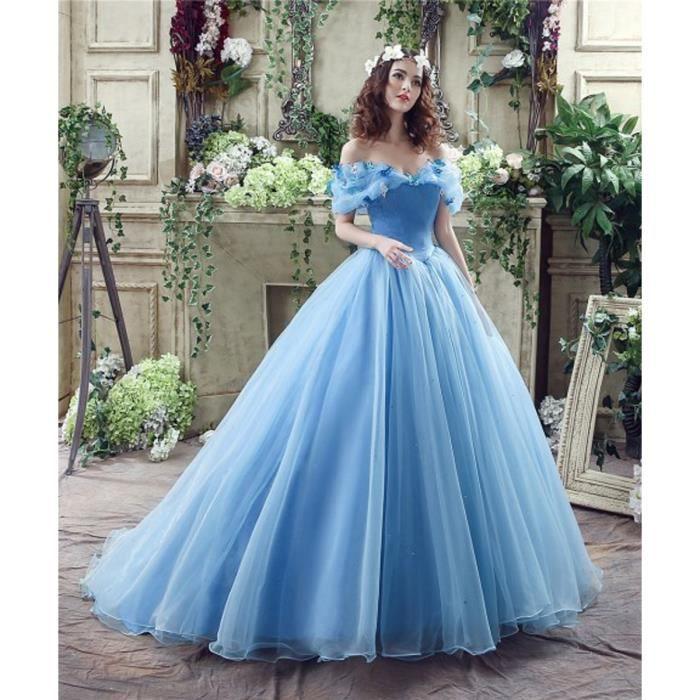 c6a50d03b98 Luxueuse Cœur bleu Fleuri 32 56 Cristal Col Lacet Princesse En Hors  L épaule Soirée Et Traîne Détail De Robe ESZq0wTw