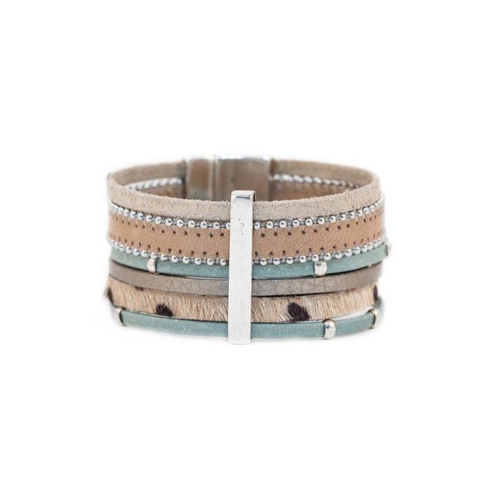 Bracelet manchette en cuir et barrette Johnas Céladon- Taille : L - Couleur marketing : Bleu