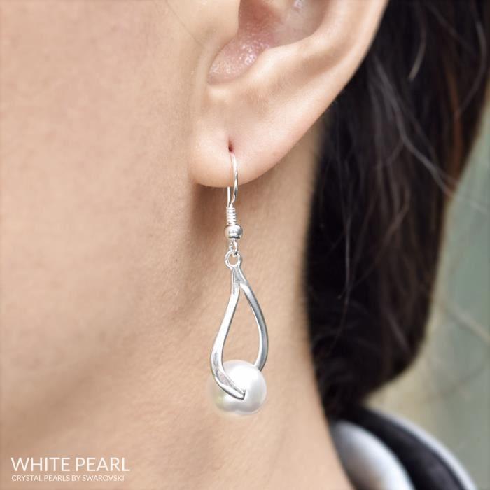 mfbijouxtendance Boucles dOreilles Curvy en Argent et Perle de Cristal Nacré 10MM Corail Swarovski®